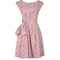 Polyester One-piece Dress printed character pattern red Sold By PC