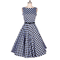 Cotton One-piece Dress printed dot light blue Sold By PC
