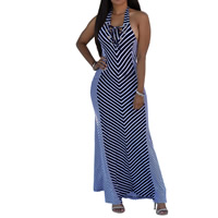 Rayon Lace Up One-piece Dress, backless & different size for choice & ankle-length, printed, striped, deep blue, Sold By PC