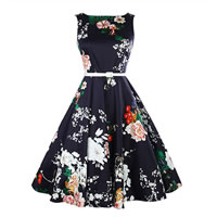 Cotton One-piece Dress printed floral black Sold By PC