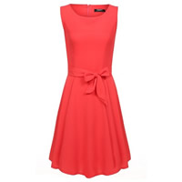Chiffon One-piece Dress with belt Solid Sold By PC