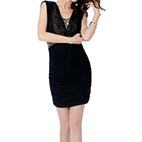Gauze Sexy Package Hip Dresses backless matte sequin Solid Size:Free Size