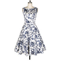 Polyester One-piece Dress with belt printed floral white Sold By PC