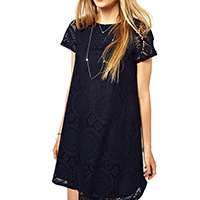 Lace Plus Size One-piece Dress hollow Solid