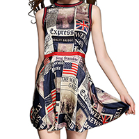 Polyester & Cotton One-piece Dress printed letter blue Sold By PC