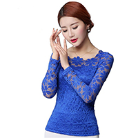 Lace Plus Size Women Long Sleeve Blouses hollow Solid
