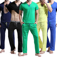 Cotton Men Casual Set loose   breathable short sleeve T-shirts   Pants patchwork Sold By Set