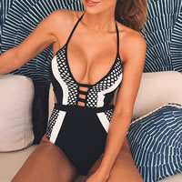 Spandex   Polyester One-piece Swimsuit breathable   padded patchwork black Sold By PC
