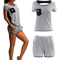 Cotton Women Casual Set short   short sleeve T-shirts printed animal prints grey Sold By Set