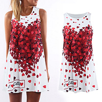 Polyester One-piece Dress printed heart pattern white