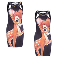 Polyester Sexy Package Hip Dresses, backless & different size for choice & hollow, printed, Cartoon, black, Sold By PC