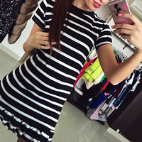Spandex & Polyester One-piece Dress, different size for choice, striped, more colors for choice, Sold By PC