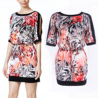Polyester One-piece Dress, different size for choice & off shoulder, printed, Sold By PC