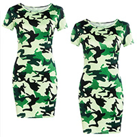 Polyester One-piece Dress, different size for choice, printed, camouflage, green, Sold By PC