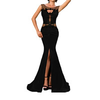Polyester Long Evening Dress hollow & transparent with Gauze patchwork Sold By PC