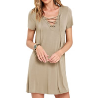 Spandex & Polyester Lace Up One-piece Dress, different size for choice, Solid, more colors for choice, Sold By PC