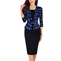 Polyester   Cotton Women Business Dress Suit printed patchwork black and blue Sold By PC
