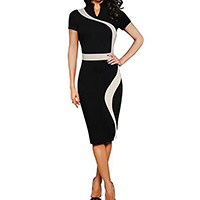 Spandex & Cotton One-piece Dress, different size for choice, patchwork, more colors for choice, Sold By PC