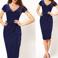 Spandex   Cotton Women Business Dress Suit patchwork deep blue Sold By PC
