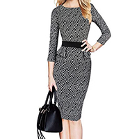 Polyester   Cotton Women Business Dress Suit printed geometric black