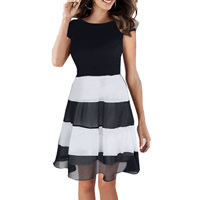 Chiffon One-piece Dress, different size for choice, patchwork, black, Sold By PC