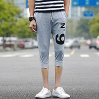 Polyester Middle Waist Men Capri Pants printed number pattern
