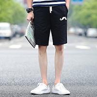 Polyester Middle Waist Men Capri Pants printed geometric black