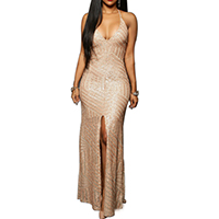 Spandex & Polyester Long Evening Dress backless floor-length & matte sequin geometric Sold By PC