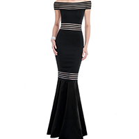 Polyester Long Evening Dress off shoulder & floor-length patchwork black Sold By PC
