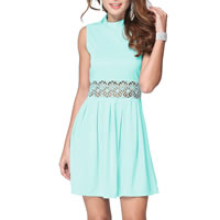 Polyester & Cotton One-piece Dress, different size for choice & hollow, with Lace, patchwork, turquoise blue, Sold By PC