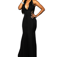 Spandex & Polyester Long Evening Dress backless off shoulder & floor-length & hollow with Gauze patchwork Sold By PC
