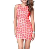 Polyester One-piece Dress, different size for choice, embroidered, floral, cherry quartz, Sold By PC