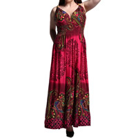 Viscose Plus Size One-piece Dress ankle-length printed geometric wine red