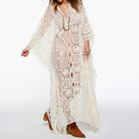 Lace Swimming Cover Ups, transparent, floral, white, Size:Free Size, Sold By PC