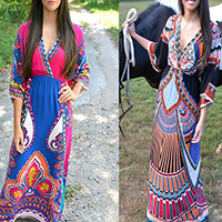Viscose One-piece Dress, floor-length, printed, geometric, more colors for choice, Size:Free Size, Sold By PC
