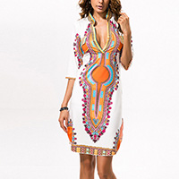 Polyester One-piece Dress, different size for choice, printed, geometric, white, Sold By PC
