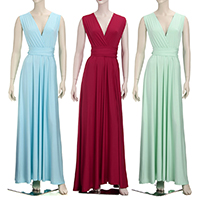 Spandex   Cotton Long Evening Dress backless floor-length   multi-way Solid