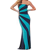 Polyester Long Evening Dress backless off shoulder printed striped blue Sold By PC