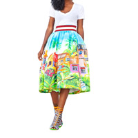 Polyester Ball Gown One-piece Dress printed landscape white Sold By PC