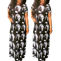 Polyester One-piece Dress, different size for choice, printed, character pattern, black, Sold By PC