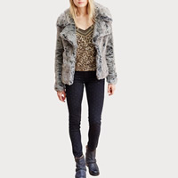 Fake Fur Women Coat Solid grey Sold By PC