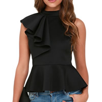 Spandex   Polyester Women Sleeveless Blouses Solid Sold By PC