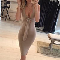 Polyester Halter Dress, multi-way & backless & different size for choice & hollow, Solid, more colors for choice, Sold By PC