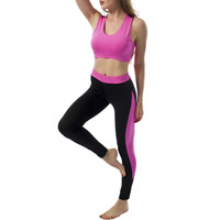 Polyester Women Yoga Clothes Set, different size for choice, tank top & Pants, patchwork, more colors for choice, Sold By Set