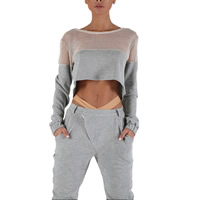 Polyester Women Sportswear Set hollow Pants   top patchwork grey Sold By Set