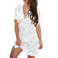 Spandex   Polyester Swimming Cover Ups hollow with Lace floral