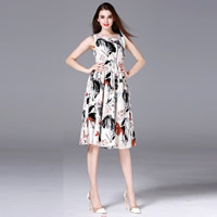 Cotton Fabric One-piece Dress, different size for choice, printed, floral, white, Sold By PC