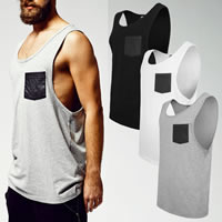 Polyester & Cotton Men Athletic Tank, different size for choice, patchwork, more colors for choice, Sold By PC