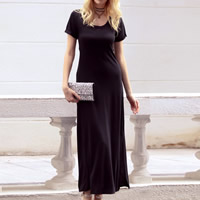Knitted Cotton One-piece Dress, different size for choice & hollow, Solid, black, Sold By PC