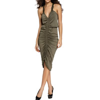 Spandex & Polyester Halter Dress, backless & different size for choice, ruffles, Solid, army green, Sold By PC